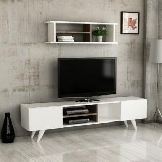 Meuble TV scandinave avec étagère Dore - L. 160 x H. 40 cm - Blanc