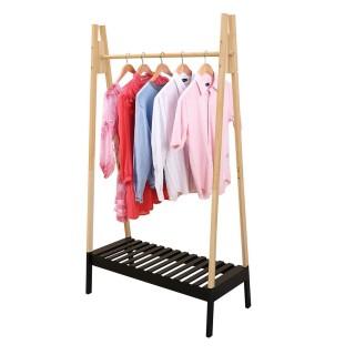Penderie portant à vêtements en bois Scandi - L. 100 x H. 170 cm - Noir
