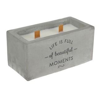 Bougie rectangulaire pot en ciment Home - Gris