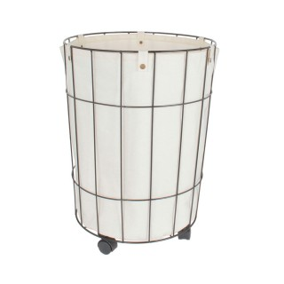 Panier à linge filaire à roulettes Design - Diam. 40 x H. 50 cm - Noir