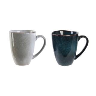 2 Mugs design Au gré du temps - 300 ml - Gris et bleu