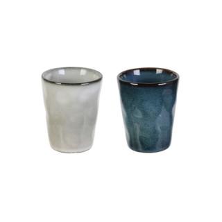 2 Tasses à expresso Au gré du temps - 100 ml - Gris et bleu