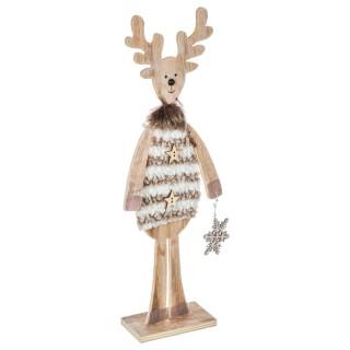 Décoration de Noël en bois Renne - Marron