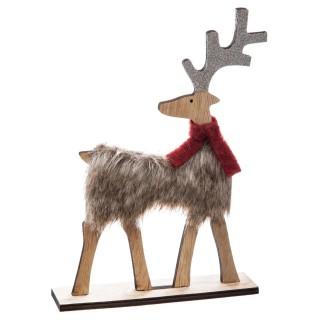 Déco de Noël en bois effet fourrure Renne - Marron