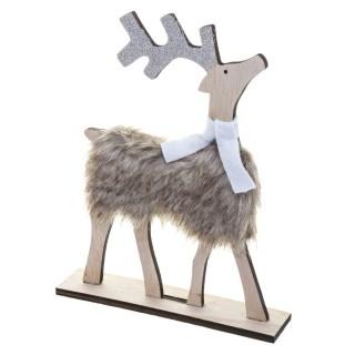 Décoration de Noël en bois effet fourrure Renne - Blanc