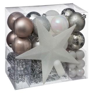 Kit déco pour sapin de Noël - 44 Pièces - Taupe, argent et gris