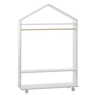 Penderie à roulettes enfant Douceur - L. 80 x H. 120 cm - Blanc