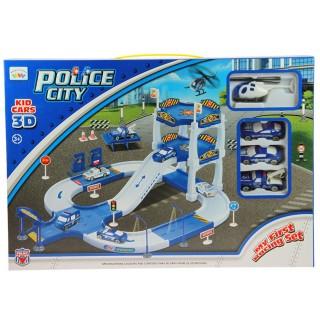 Jouet Commissariat de police avec voitures et hélicoptère - Bleu