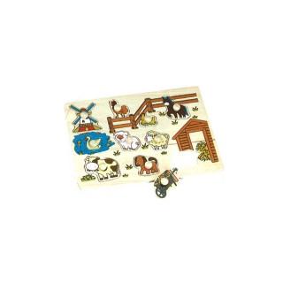 Puzzle éveil en bois Ferme - 10 pièces