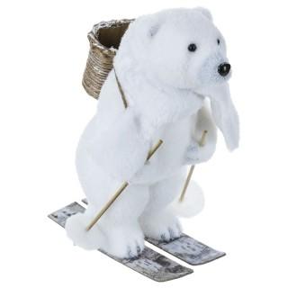 Décoration de Noël Ours skieur - Blanc