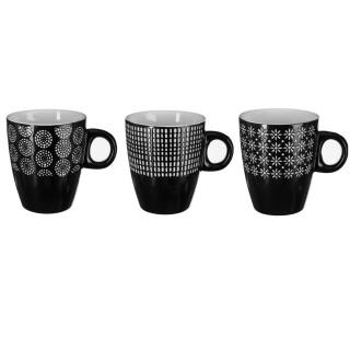 3 Mugs design Ethnik - 190 ml - Noir