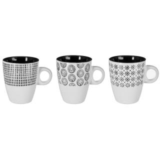 3 Mugs design Ethnik - 190 ml - Blanc