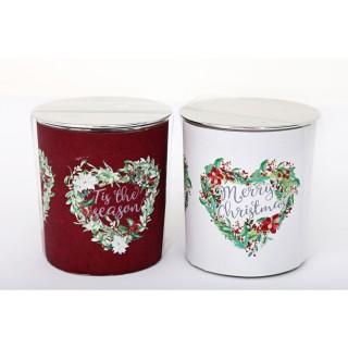 2 Bougies de Noël en pot Tradi - Rouge et blanc