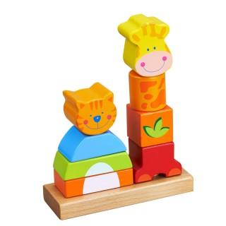 Jouet éveil en bois - Formes empilables - Chat et girafe