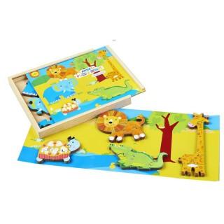 Puzzle éveil en bois La Savane - 18 pièces