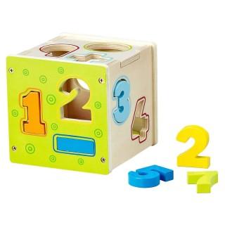Jouet éducatif en bois - Cube avec chiffres à encastrer