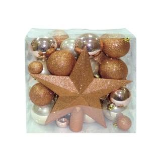 Kit déco pour sapin de Noël - 50 Pièces - Marron cuivré