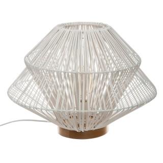 Lampe à poser en rotin Ludza - H. 33 cm - Blanc
