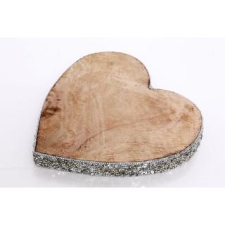 Décoration de Noël en bois Coeur Natural - Argent