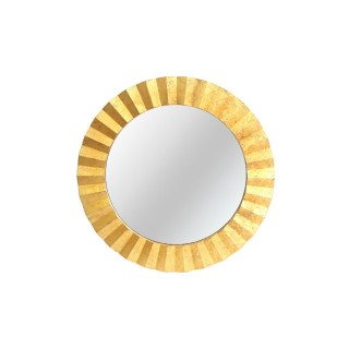 Miroir rond en métal design Flora - Diam. 80 cm - Doré