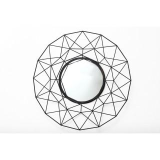 Miroir mural métal filaire Eddy - Diam. 64 cm - Noir