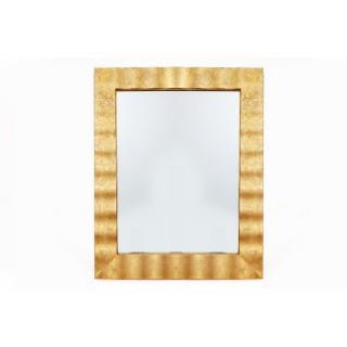 Miroir rectangulaire en métal design Flora - L. 76 x l. 91 cm - Doré