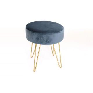 Tabouret design en velours Isio - Diam. 35 x H. 40 cm - Bleu