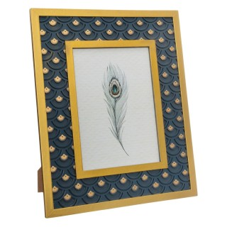 Cadre photo design Peacock GM - Bleu canard et doré