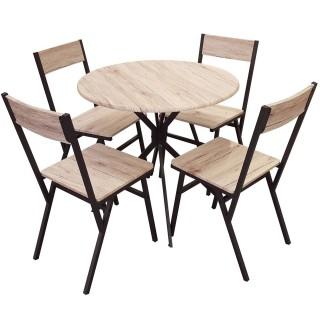 Table à manger avec chaise indus Dock - Noir