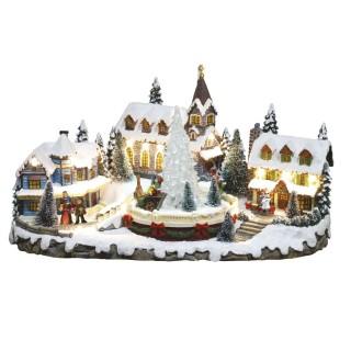 Village de Noël lumineux - Eglise et sapin animés