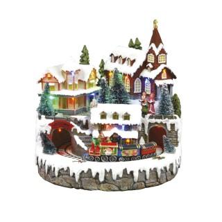 Village de Noël lumineux - Train et église animés
