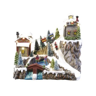 Village de Noël lumineux et musical - Téléphérique animé