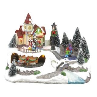 Village de Noël lumineux et musical - Train et personnages animés