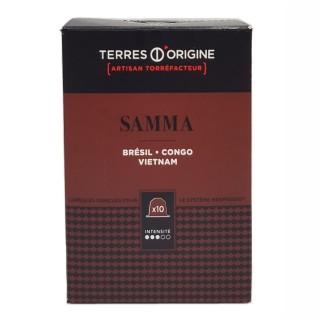 Capsules café Samma intensité 3/5 - Terres d'Origine - boîte 55g soit 10 capsules conçues pour le système Nespresso