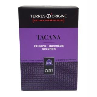 Capsules café Tacana intensité 4/5 - Terres d'Origine - boîte 55g soit 10 capsules conçues pour le système Nespresso