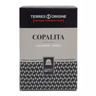 Capsules café Copalita intensité 2/5 -Terres d'Origine - boîte 55g soit 10 capsules conçues pour le système Nespresso