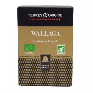 Capsules café Wallaga BIO intensité 3/5 - Terres d'Origine - Boîte 55g soit 10 capsules conçues pour le système Nespresso