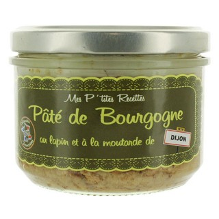 Pâté de Bourgogne au lapin et à la moutarde de Dijon - Fabriqué en France - Mes P'tites Recettes - pot 220g