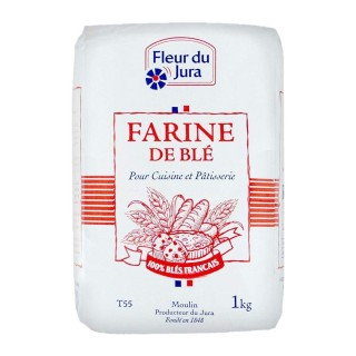 Farine T55  blé tendre 100% français - Fleur du Jura -  paquet 1kg