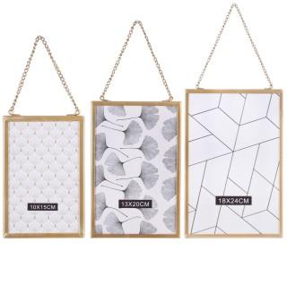 3 Cadres photo à suspendre design Gold Home - Doré
