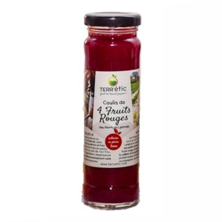 Coulis  4 fruits rouges - Mont du Lyonnais - Terr'étic fruit du travail paysan - bocal 156ml