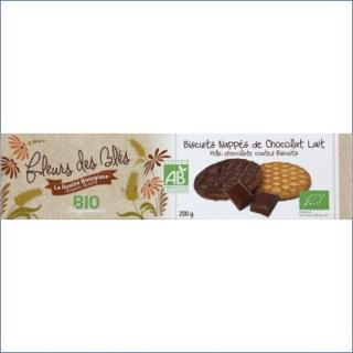 Biscuits nappés chocolat lait BIO - Fleurs de Blés - paquet 200g