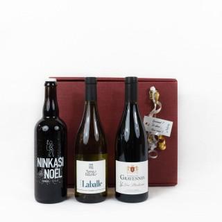 Coffret Cadeau Vin de Fête N°2 - Idée cadeau - Boîte cadeau écologique - 3 produits