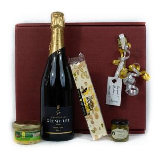 Coffret Cadeau Champagne Festif - Idée cadeau - Boîte cadeau écologique - 4 produits