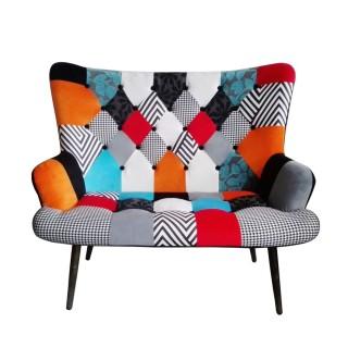 Canapé scandinave en tissu Patchwork Helsinki - 2 Places - Multicolore
