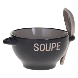 Bol à soupe avec cuillère - Gris