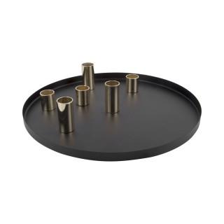 Plateau pour bougeoir design Lineate - Diam. 30 cm - Noir