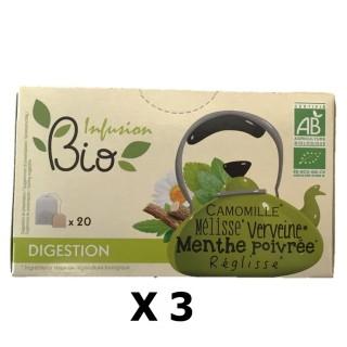 Lot 3x Infusion BIO : Camomille, Mélisse, Verveine, Menthe poivrée, Réglisse - Digestion - 20 sachets