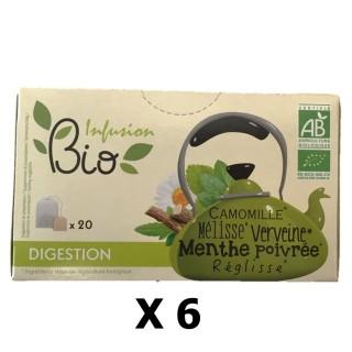 Lot 6x Infusion BIO : Camomille, Mélisse, Verveine, Menthe poivrée, Réglisse - Digestion - 20 sachets
