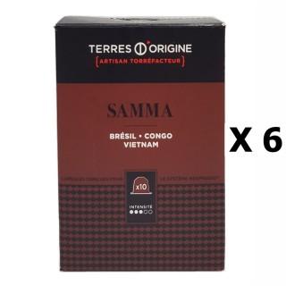 Lot 6x Capsules café Samma intensité 3/5 - Terres d'Origine - boîte 55g soit 10 capsules conçues pour le système Nespresso